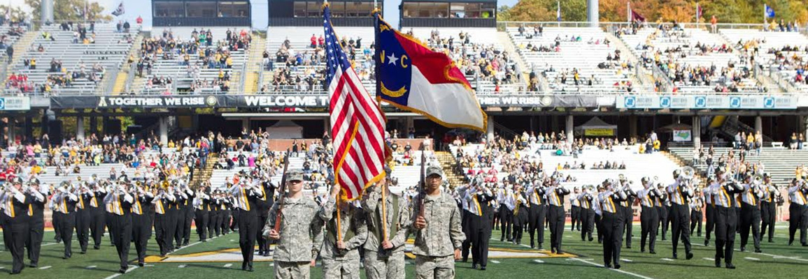 Appalachian State Color Guard at football game